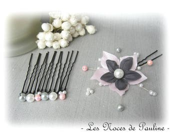 Set of pink, grey and white silk flower hair accessory has