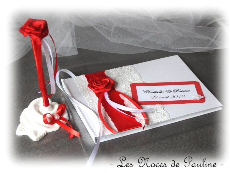 Livre D Or Mariage Rouge Et Blanc Rose Satin Dentelle Pm Et Son Stylo Album Photos Personnalise Livre D Or Rose Rouge
