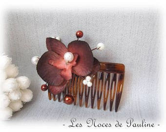 Brown white wedding ivory Orchid comb