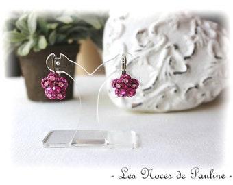 Rhinestone pink Fuchsia Flower Earrings