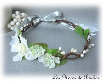 Wedding wreath with white flowers Fiona Fascinator bridesmaid witness