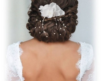"Wedding white Orchid ""Les Textiles"" Fascinator comb"