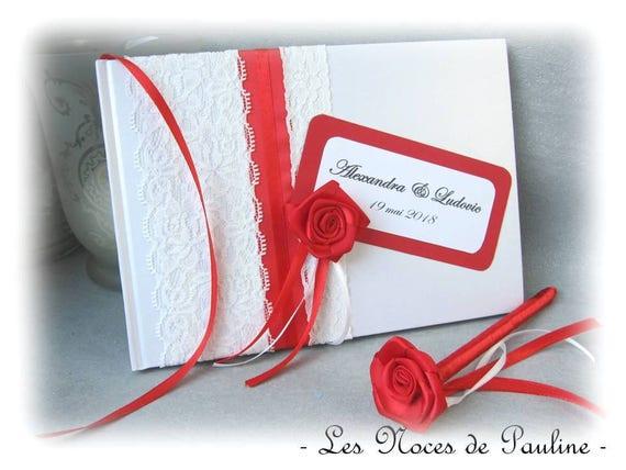 Livre D Or Mariage Rouge Et Blanc Rose Satin Dentelle Pm Et Son Stylo Album Photos Personnalise