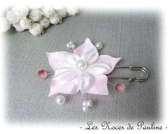 Pink and white satin flower brooch, wedding