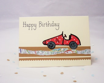Racing car card, racing car birthday card, sports car card,  male birthday card, boy birthday card, vintage car gift, sports car gift