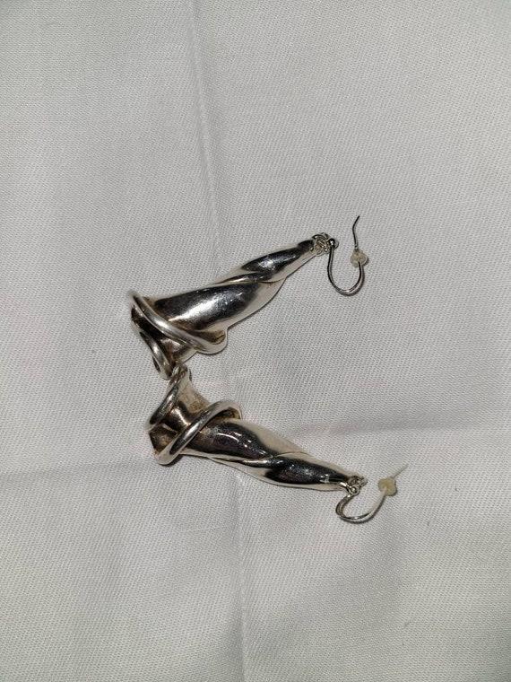 Vintage drop sterling silver flower earrings. Vint