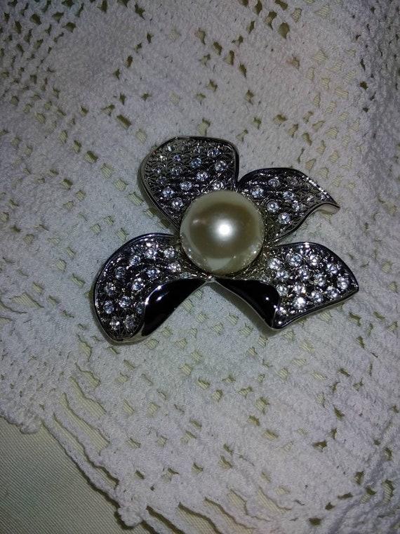 Vintage art deco pearl brooch,vintage art deco pi… - image 1