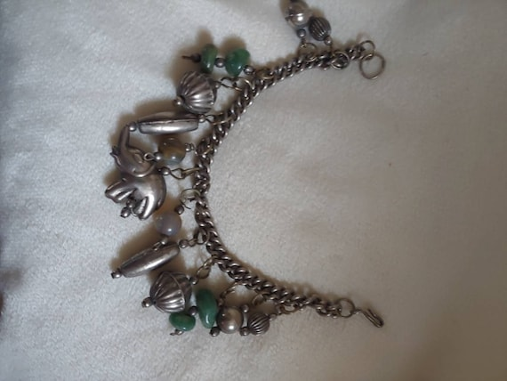 Vintage sterling silver charm bracelet, vintage S… - image 2