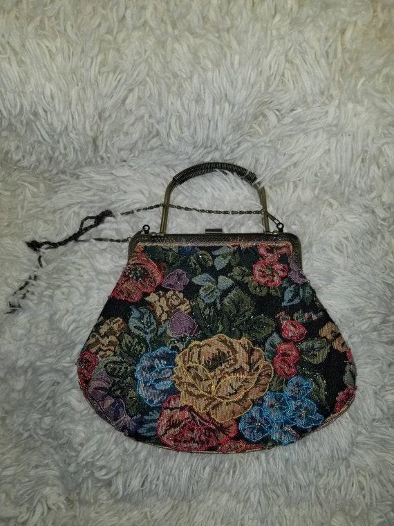 Vintage cloth beaded bag, rug bag, beaded purse,