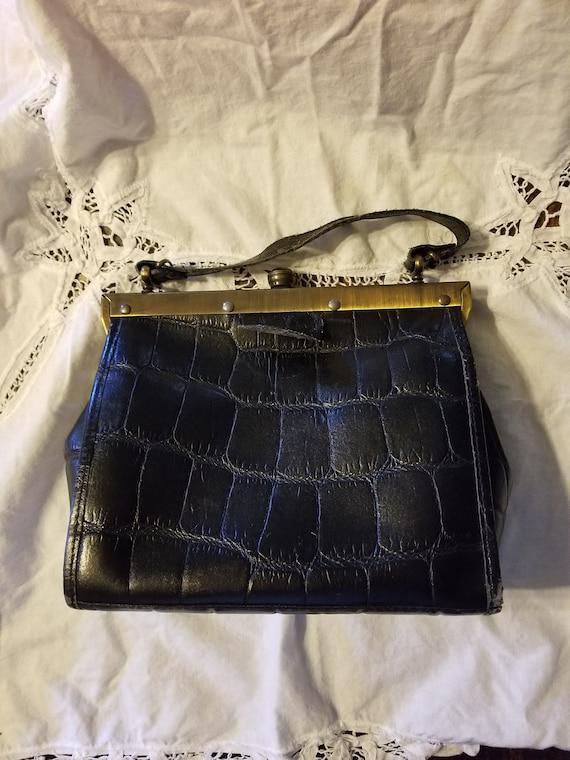 Vintage leather purse, vintage leather bag, vintag
