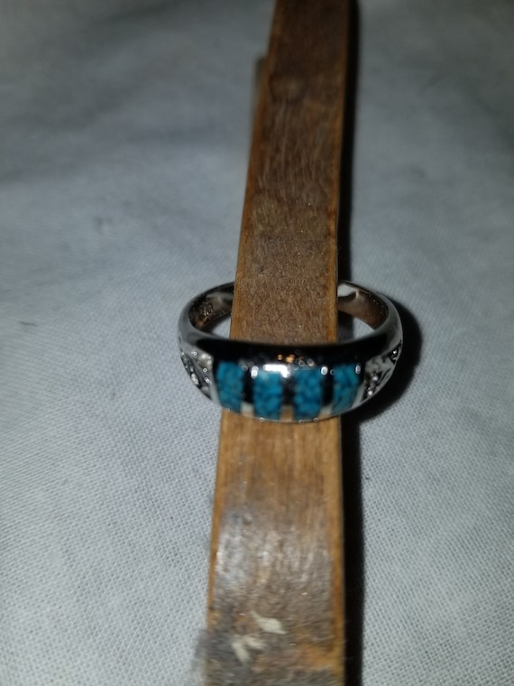 Vintage 90s turquoise ring, turquoise band ring, v