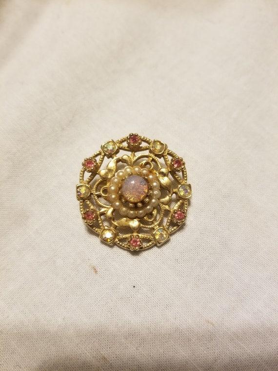Vintage brooch, vintage pin, vintage opal brooch - image 1