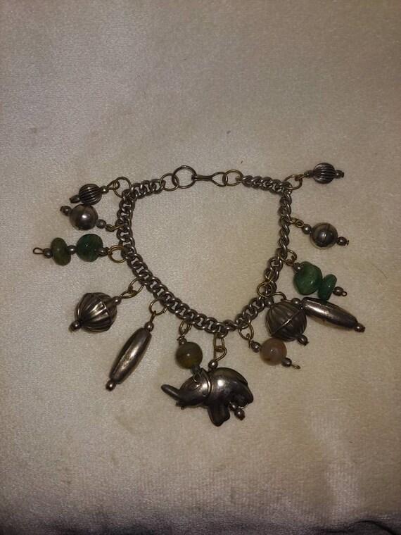 Vintage sterling silver charm bracelet, vintage S… - image 1