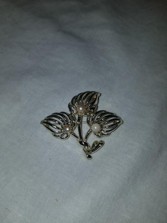 Vintage sterling and pearl brooch, vintage pearl … - image 3