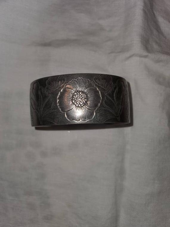 Vintage pewter cuff bracelet, vintage pewter brace