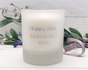 20th Wedding Anniversary Candle. 20th Wedding Anniversary Gift. 20th Anniversary Gift for Wife. Personalised Scented Candle.