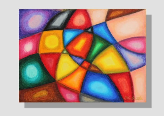 Contemporary Abstract Painting With Oil Pastels On Canvas Structuring Colorful Painting Degraded Stained Glass Window Geometric Shapes