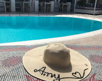 b43ecaba2f7 Personalised Name Wide Brim Floppy Hat