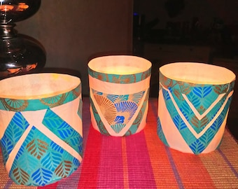 SET OF 3 COLORED  indian paper candle holders : 13 euros