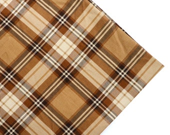 Vintage Style Plaid Corduroy Fabric - Brown Plaid Corduroy Fabric, Brown Check Corduroy Fabric, Classic Style, Corduroy Fabric by Yard