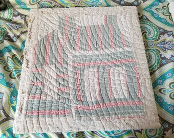 Log Cabin Quilted Block Vintage Cut From Quilt