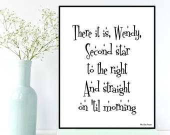 Second Star To The Right Quote Peter Pan You Can Fly Peter Etsy