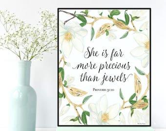 Bible verse, She is far more precious than jewels, Proverbs 31:10, Nursery wall art, Scripture art, Bible verse print , Nursery bible verse