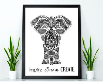 Elephant print, Home wall meditation decor, Elephant poster, Teacher Christmas gift, Yoga wall art, Quote wall art, Inspirational quote
