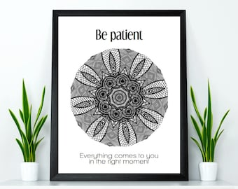 Mandala poster, Yoga poster, Yoga wall art, Yoga wall decor, Meditation wall art, Inspirational quote poster, Relaxation quote, Yoga gift