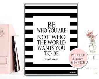 Be who you are quote, Coco Chanel print, Coco Chanel quote, Celebrity quote, Inspirational wall art, Inspirational quote, Modern typography