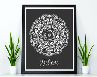 Yoga wall art, Yoga wall decor, Yoga poster, Meditation wall art, Mandala poster, Inspirational quote poster, Relaxation quote, Yoga gift
