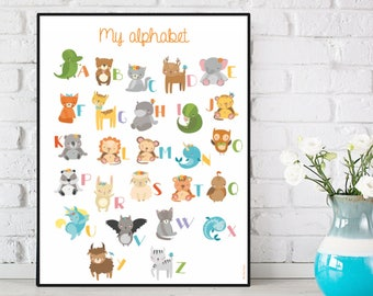 Alphabet poster, Alphabet letters, Children poster, Kids room decor, Alphabet print, Alphabet wall art, Children gift, Nursery alphabet