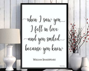 William Shakespeare quote, Wife gift, Husband gift, Love poster, Love quote print, Shakespeare poster, Home wall art decor