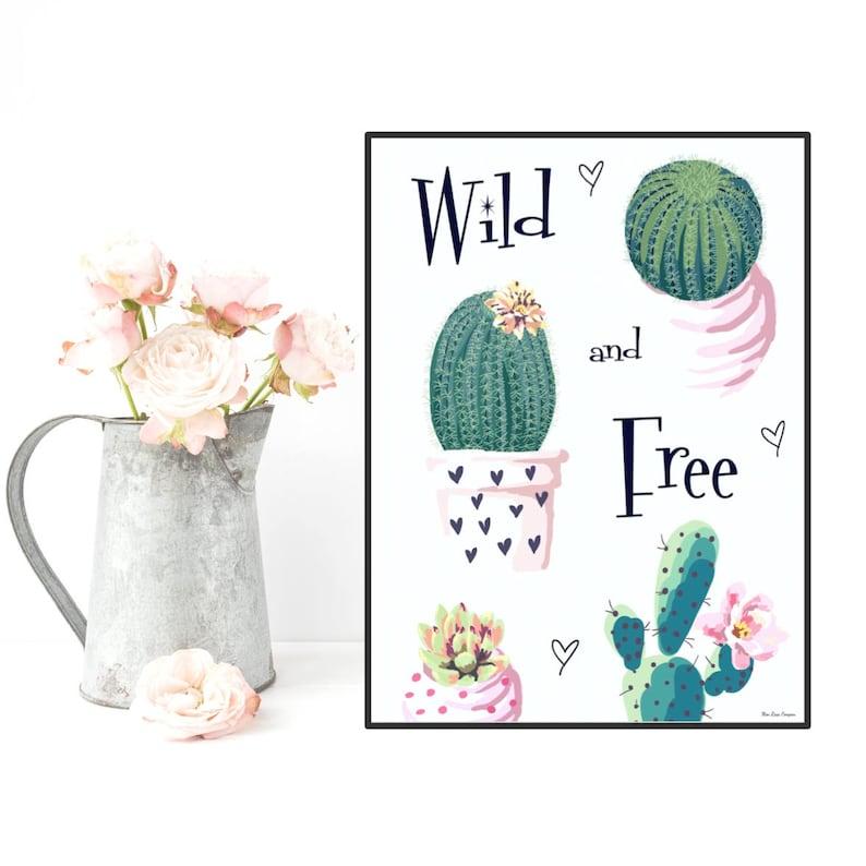 Cactus poster Cactus print Cactus quote Home wall art image 0