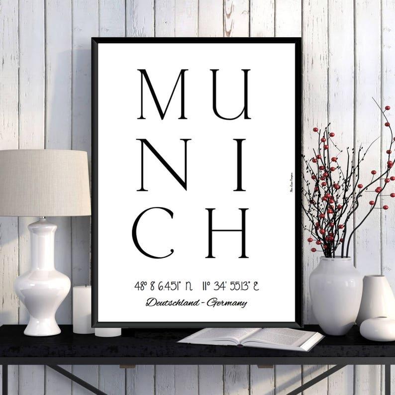 Munich Poster Munich print Home wall decor Office wall image 0