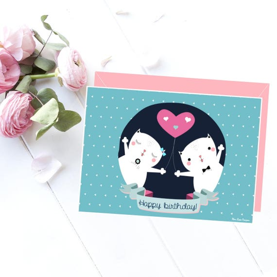 Birthday Card Printable Card Happy Birthday Gift Art Love Etsy