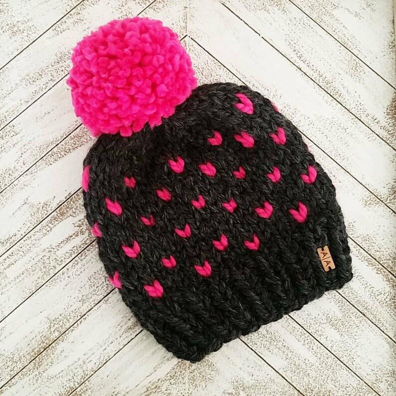 Winter beanie Knit Hat. The hot pink yarn pompom beanie Pompom Beanie