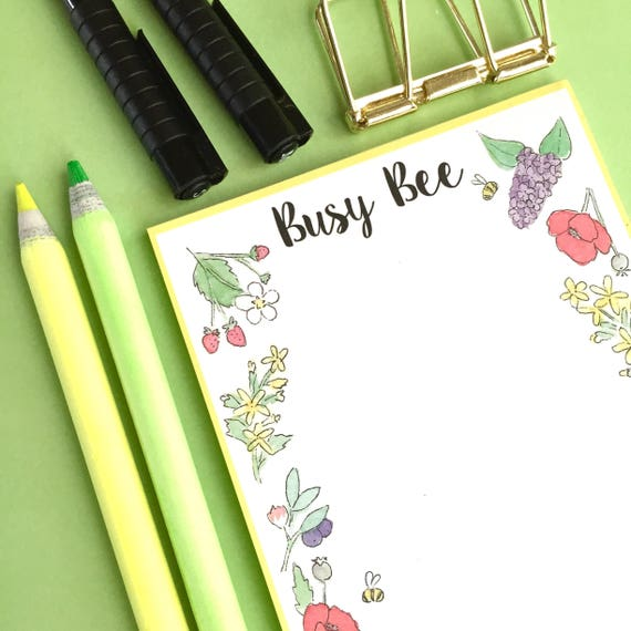Busy Bee Notepad, A6 notepad, List Pad, To Do List, Bee stationery