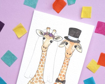 Giraffe Wedding Card, Mr and Mrs Giraffe, Giraffe Marriage Greetings Card