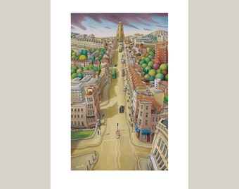 Park street, Bristol Greetings Card- City Art - Blank greeting card - Bristol Art