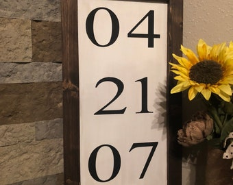 Date/anniversary wooden sign