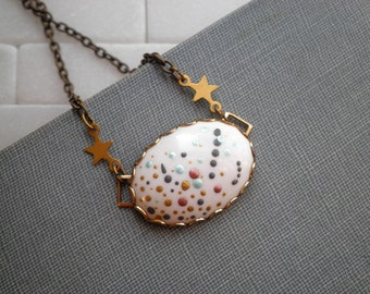 Outer Space Bohemian Necklace - Hand Painted Stars & Planets Cosmic Tiny Dot Art  Vintage Oval Pendant - Mini Star Galaxy Boho Jewelry Gift