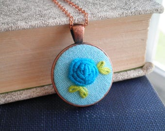 Embroidered Turquoise Blue Rose Necklace - Blue Flower Embroidery Necklace - Bright Blue Single Rose Fiber Art Nature Jewelry - Floral Gift