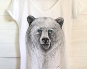 Orso t-shirt Courage _ NEW COLLECTION SS19_Orso con occhi blu-Donna orso t-shirt Big Bear t-shirt-Uomo Tee Big Bear, regalo per lei e lui