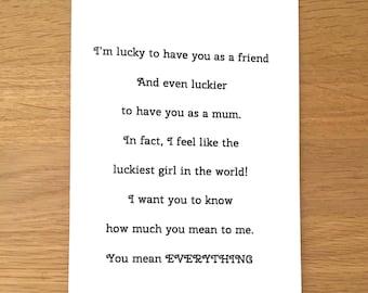 Mothers day card for Mum, birthday card for mum, love for mum, special mum, step mum card, adoptive mum card