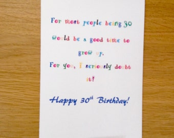30th Birthday Card For 30 Year Old Funny Milestone Man Or Woman Boyfriend Girlfriend Friend