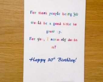 30th Birthday Card For 30 Year Old Funny Milestone Man Or Woman Boyfriend Girlfriend Friend