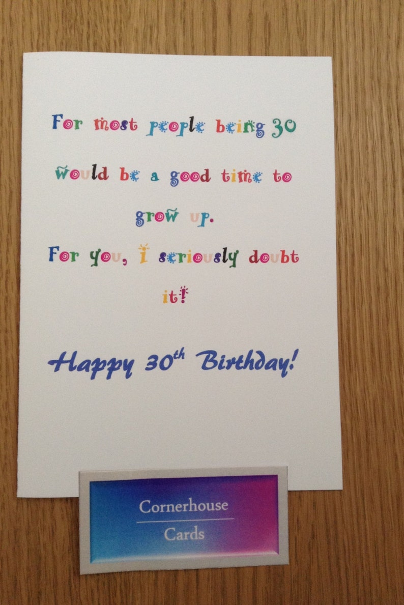 30th Birthday Card For 30 Year Old Funny Milestone