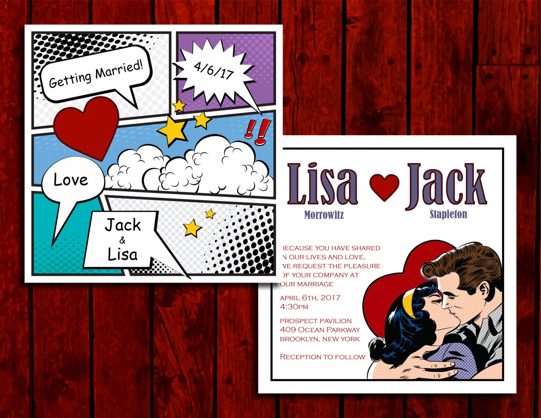 Comic Love: Wedding Invitation Suite Print at Home | Etsy
