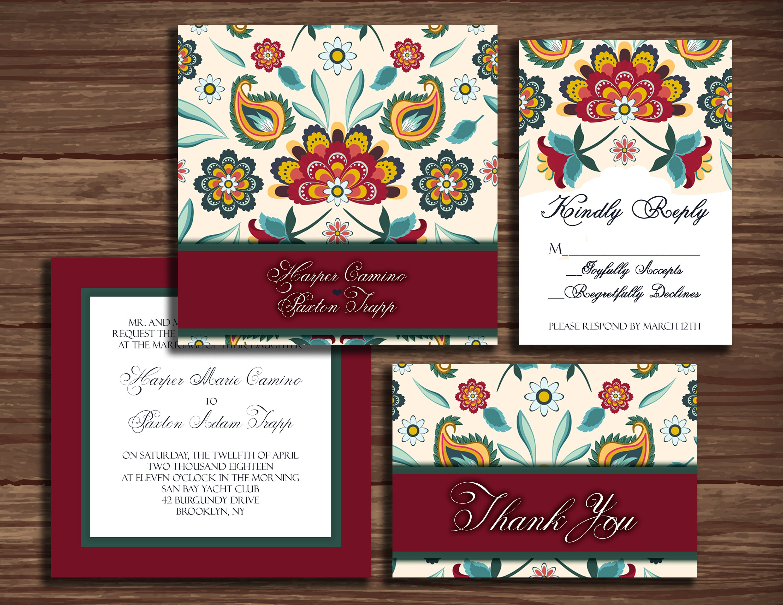 Romantic Romania: Wedding Invitation Suite Print at Home | Etsy